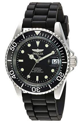 montre pour homme de la marque Invicta avec un bracelet en acier inoxydable noir et un bracelet noir modele Pro Diver 23678