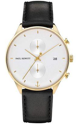 montre pour homme de la marque Paul Hewitt et son bracelet en cuir noir et son cadran blanc et or