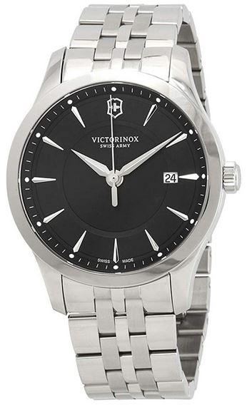 montre pour homme de la marque suisse Victorinox modele noir et argent Alliance Swiss Army avec cadran analogique noir