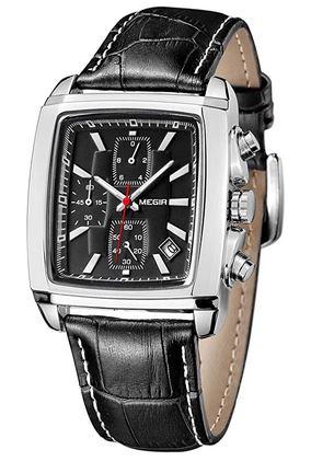 montre rectangulaire pour homme de la marque Megir avec un bracelet en cuir noir et un boitier en acier