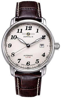 montre retro de la marque allemande Zeppelin avec un cadran analogique vintage et un bracelet en cuir marron fonce lisse modele a mecanisme automatique