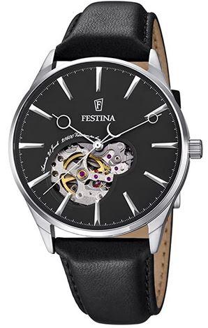 montre squelette pour homme avec un bracelet en cuir noir de la marque Festina