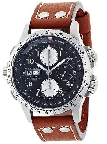 montre suisse masculine de la marque Hamilton modele X WIND avec son cadran chronographe bleu et un bracelet epais en cuir marron clair