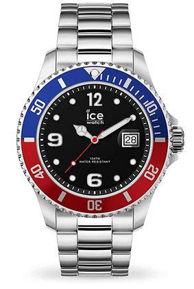 montre suisse pour homme de marque Ice Watch modele ICE steel United silver avec un bracelet en metal et le boitier rouge et bleu