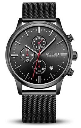 montre toute noire Megir pour homme avec un cadran chronographe et un bracelet en acier noir