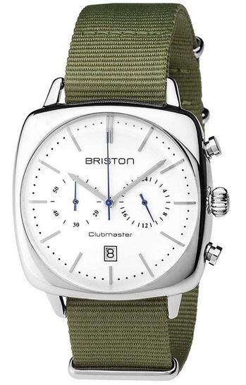montre vintage pour homme de la marque Briston avec un cadran blanc chronographe et un bracelet en tissu vert olive