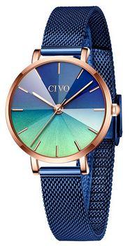 petite montre Civo pour femme au bracelet bleu en maille dacier tres fine et un boitier en or rose