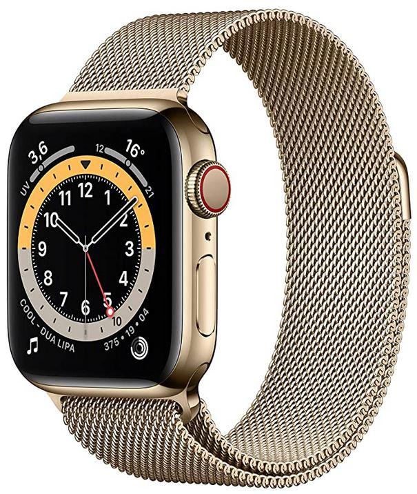 Apple Watch serie 6 en acier inoxydable couleur or avec bracelet en maille milanaise egalement couleur or montre connectee avec cadran de 40mm