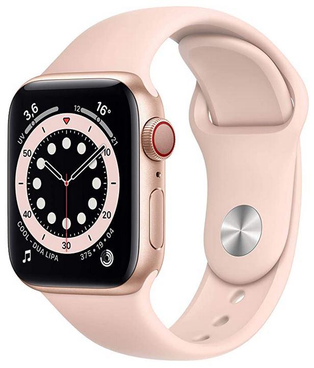 Apple Watch serie 6 rose pale pour femme avec cadran de 40mm montre connectee de la marque apple avec GPS et toutes les autres fonctionnalites intelligentes