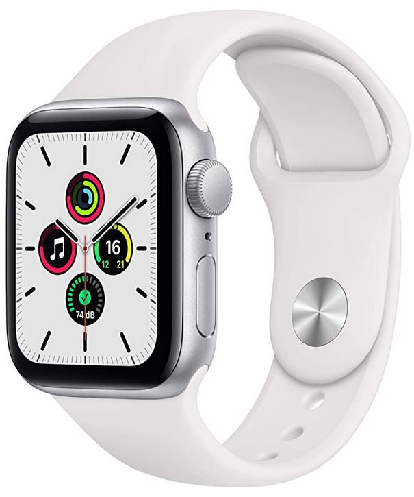 Apple Watch serie SE avec bracelet de silicone blanche modele de 40mm