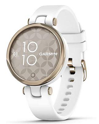Garmin Lily Sport blanche montre connectee pour femme avec un bracelet blanc en silicone et un cadran en acier inoxydable couleur or de 34mm