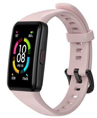 Honor Band 6 rose bonbon smartwatch pas chere pour femme avec mesure de la frequence cardiaque mode sport et running et mesure du sommeil