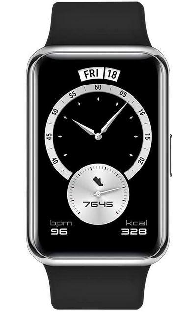 Huawei Watch Fit noire avec boiter en acier argente montre connectee de sport avec gestion du sommeil mesure de la frequence cardiaque GPS