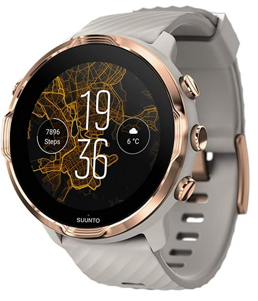 Suunto 7 smartwatch avec un bracelet gris et un boitier en or rose montre connectee compatible avec un iphone iOS