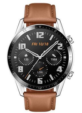 belle montre connectee Wacth GT 2 avec un bracelet en cuir marron clair lisse de la marque Huawei