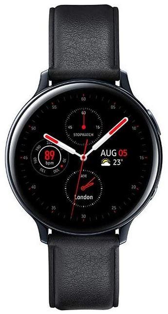 magnifique montre connectee de la marque Samsung entierement noire avec bracelet en cuir lisse modele Galaxy Watch Active 2