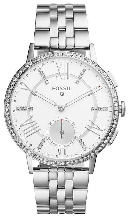magnifique montre hydride Fossil Q destinee aux femmes avec un cadran blanc et un bracelet en maille moyenne argentees