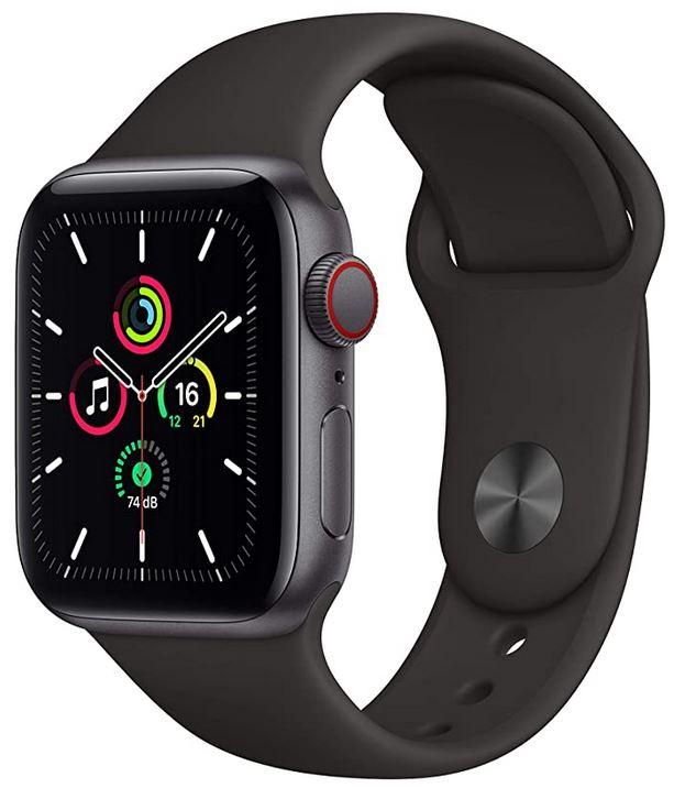 montre Apple Watch SE connectee toute noire version GPS et cellular de 40mm