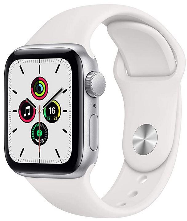 montre Apple connectee modele SE avec GPS et cadran de 40mm avec un bracelet en silicone blanche