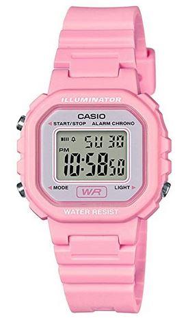 montre Casio LA 20WH rose bonbon pour fille avec affichage digital et bracelet en plastique rose