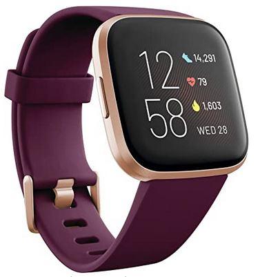 montre Fitbit Versa 2 smartwatch de sport avec bracelet bordeaux et boitier dore