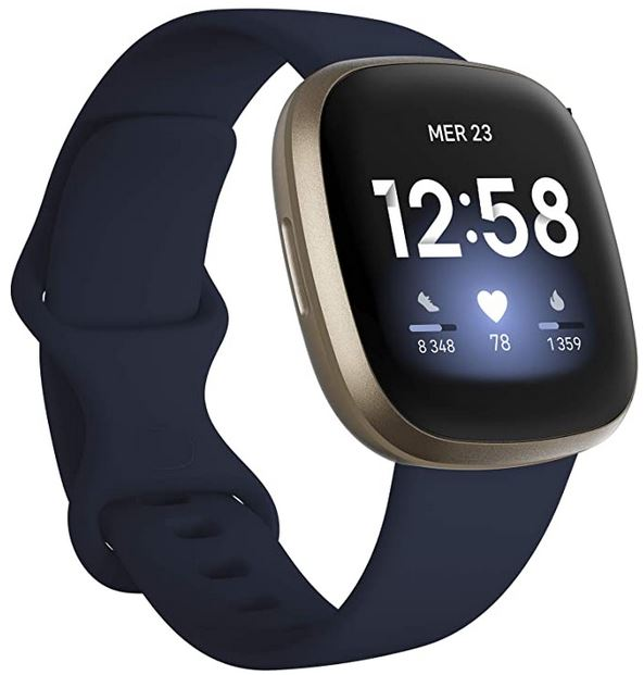 montre Fitbit versa 3 bleu nuit avec fonction GPS integre mesure de la frequence HR et tracker de sommeil