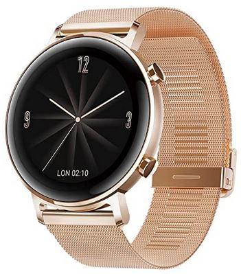 montre Huawei GT 2 en acier inoxydable dore avec fonction de suivi de frequence cardiaque GPS sports notifications smartwatch pour femme