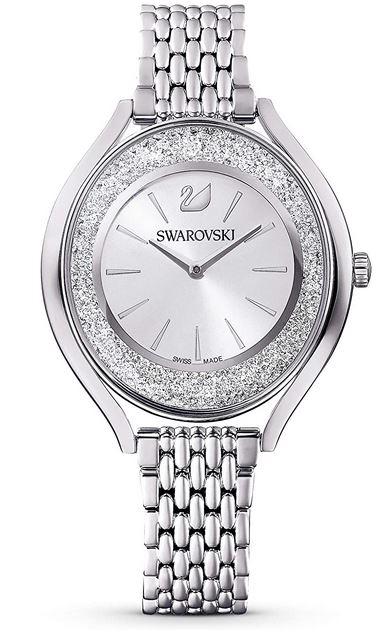 montre Swarovski Crystalline Aura en metal et acier inoxydable argente avec son cadran analogique entoure de 1300 cristaux modele pour femme