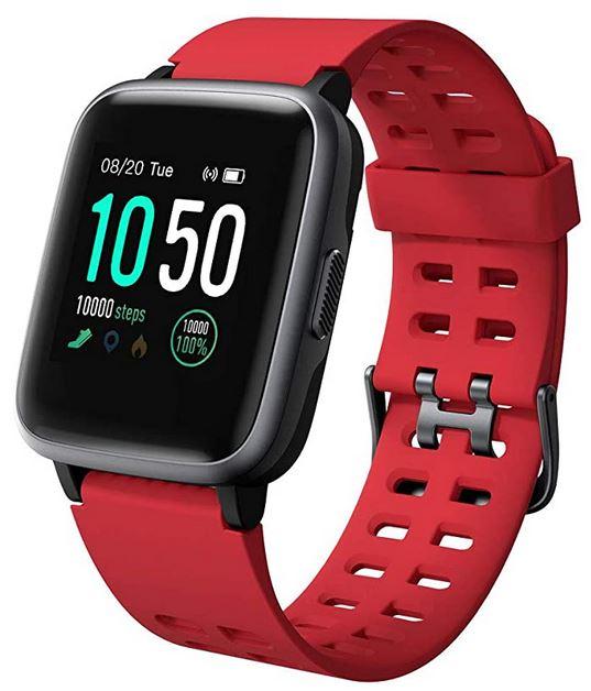 montre Willful IP68 connectee avec podometre mode sport GPS bluetooth et plus bracelet en silicone rouge