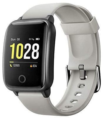 montre Willful connectee avec bracelet gris en silicone compatible iOS et android