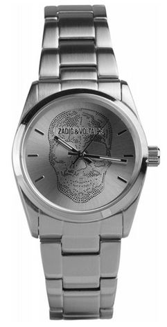 montre analogique a quartz Zadig et Voltaire pour femme avec une tete de mort sur le cadran modele tout en acier inoxydable couleur metal argente