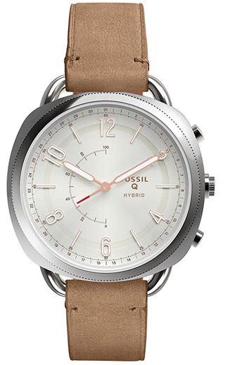 montre analogique hybrid de la marque Fossil modele Q FTW1200 destinee aux femmes avec un bracelet en cuir beige et un boitier carre en acier argente