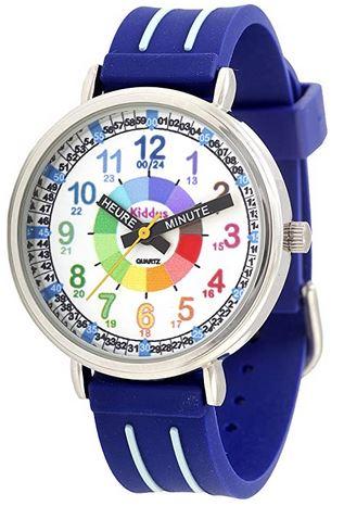 montre bleu et blanche pour enfant de la marque Kiddus avec un cadran detaille en couleur pour apprendre a lire lheure facilement