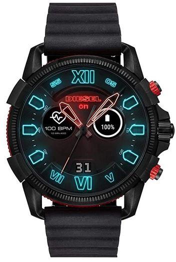 montre compatible avec un iphone de la marque Diesel smartwatch Full On guard entierement noire avec de nombreuses options