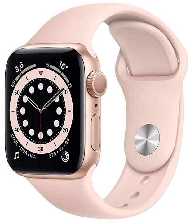 montre connectee Apple Watch serie 6 40mm rose des sables avec fonction GPS mesure de la frequence cardiaque smart notifications et bien plus