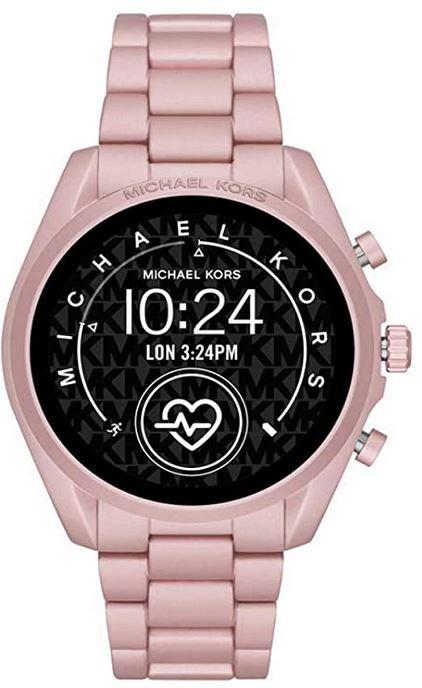 montre connectee Michael Kors rose bonbon pour femme avec mesure de la frequence cardiaque tracker de sommeil et dactivite controle de la musique et plus