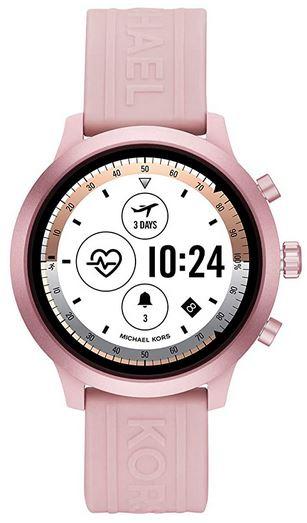 montre connectee Michael Kors rose pale pour femme avec bracelet en silicone compatible iphone et android