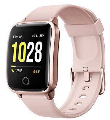 montre connectee Willful pour femme avec fonction GPS et nombreux tracker dactivite bracelet rose en silicone