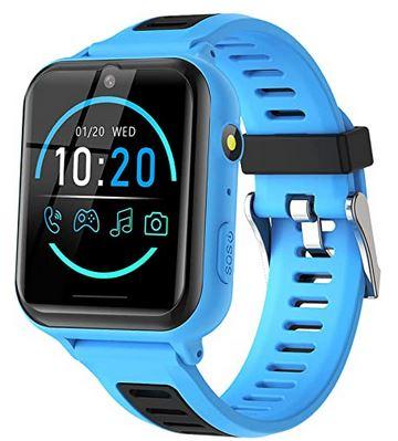 montre connectee bleue et noire pour enfant de la marque Bauisan avec 14 fonctions differentes smartwatch pour garcon ou fille