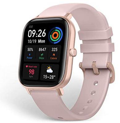 montre connectee compatible avec android de la marque Amazfit avec bracelet en silicone rose modele GTS avec tracker dactivite mesure de la frequence cardiaque et GPS integre