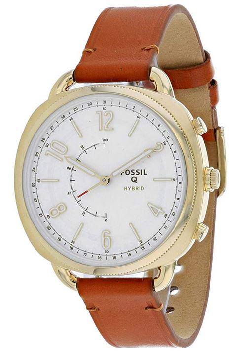 montre connectee de la marque Fossil modele FTW1201 et son bracelet en cuir marron lisse