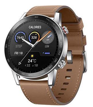 montre connectee de la marque Honor avec un bracelet en cuir marron clair modele Magic Watch 2 Smartwatch de 46mm compatible android