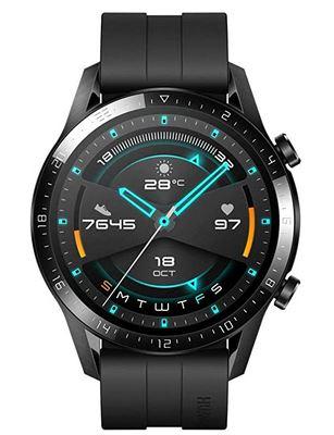 montre connectee de la marque Huawei Watch Gt 2 entierement noire avec fonction GPS modes de sport suivi du rythme cardiaque
