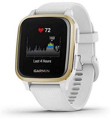 montre connectee de sport de la marque Garmin Venu SQ blanche avec ecran tactile suivi de frequence cardiaque et GPS