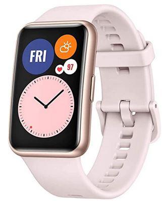 montre connectee de sport pour femme de la marque Huawei modele Watch Fit avec 96 modes dentrainement et son bracelet de silicone rose