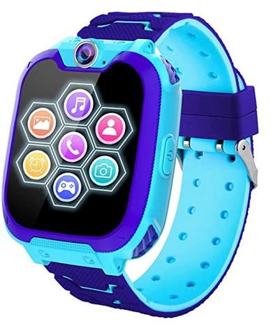 montre connectee destinee aux enfants de la marque Phtechus modele X6 bleu compatible avec iphone et android pour enfant de 3 a 12 ans