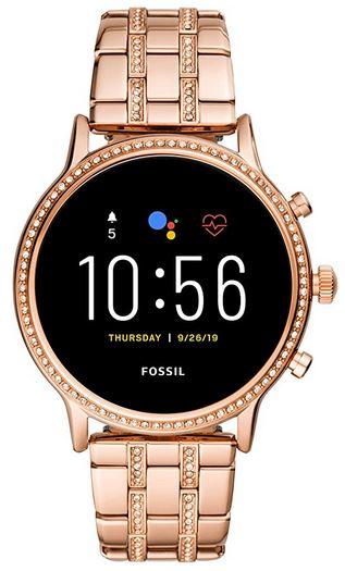 montre connectee feminine et pas chere de la marque Fossil entierement doree pour femme modele Gen 5