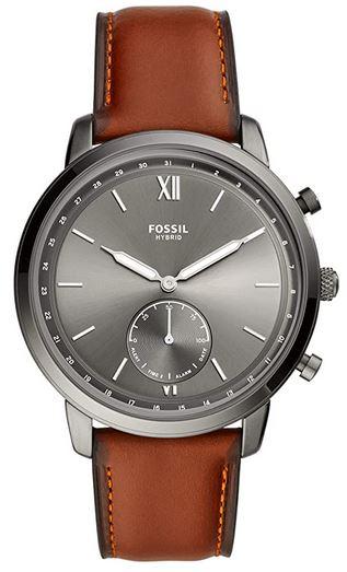 montre connectee hybride Fossil FTW1194 avec bracelet en cuir marron clair pour homme