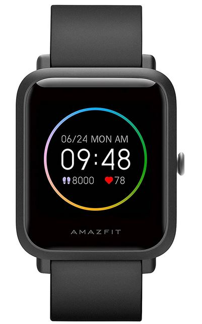 montre connectee masculine de la marque Amazfit modele Bip S Lite noir smartwatch pas cher compatible iOS et android