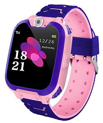 montre connectee pour enfant de la marque Vannico de couleur rose et violette avec 7 jeux differents smartwatch avec ecran tactile LCD